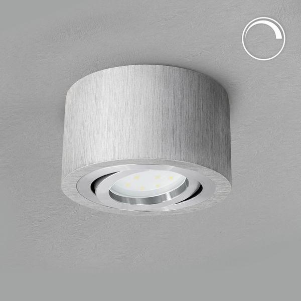 Flacher Deckenspot Aufbauspot Alu schwenkbar inkl. dimmbarem LED Modul 5W warmweiß 230V – Bild 2