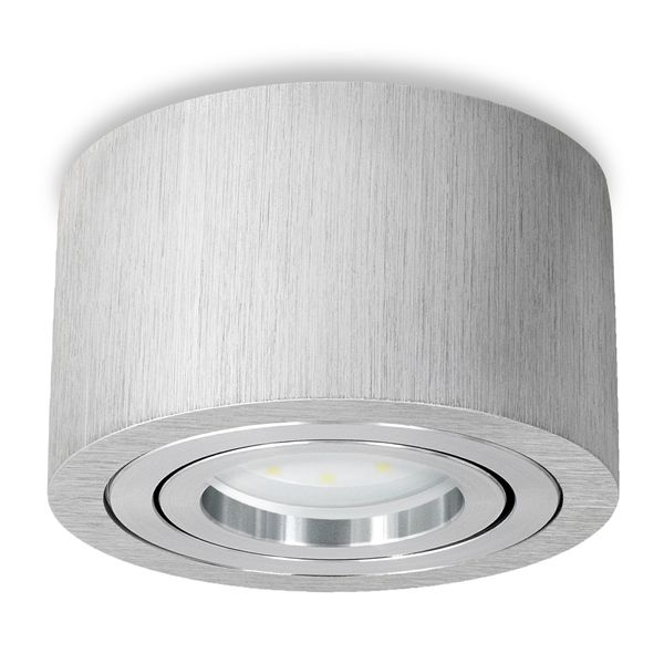 Flacher Decken-Aufbau-Spot Alu gebürstet, schwenkbar, inkl. LED-Modul 5W neutral weiss 230V DIMMBAR