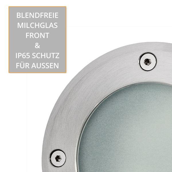 LED Bodeneinbaustrahler MARNE rund Edelstahl gebürstet mit 5W LED GU10 warmweiß dimmbar – Bild 8