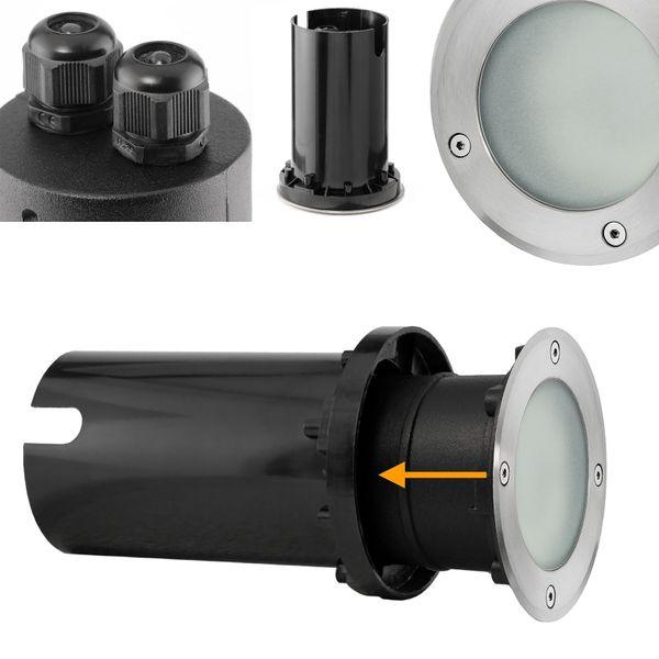 LED Bodeneinbaustrahler MARNE rund Edelstahl gebürstet mit 5W LED GU10 warmweiß dimmbar – Bild 6
