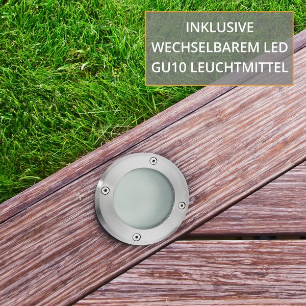 LED Bodeneinbaustrahler MARNE 5W neutralweiß GU10 230V dimmbar rund Edelstahl gebürstet – Bild 6