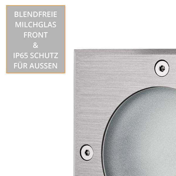 LED Bodeneinbaustrahler MADON mit 5W LED GU10 neutralweiß dimmbar - quadratisch Edelstahl gebürstet  – Bild 6