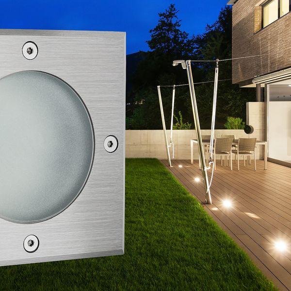 LED Bodeneinbaustrahler MADON mit 5W LED GU10 neutralweiß dimmbar - quadratisch Edelstahl gebürstet  – Bild 2