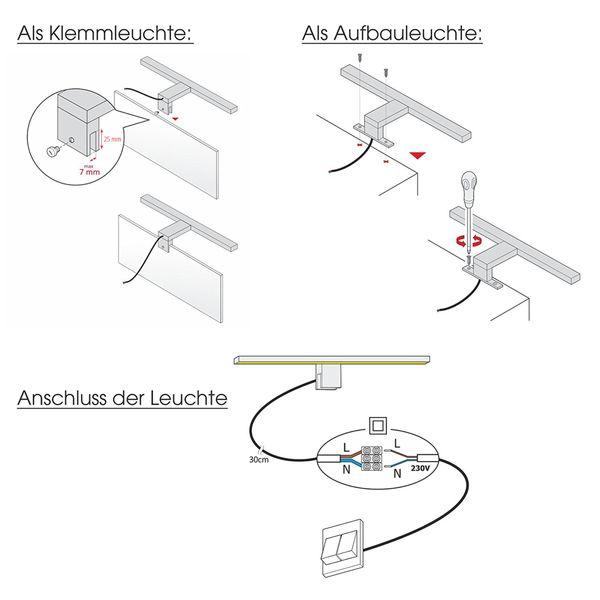 LED Bad Spiegelleuchte LEVA 2-in-1 Aufbauleuchte / Klemmleuchte 30cm 5W IP44 warmweiß chrom glänzend – Bild 8