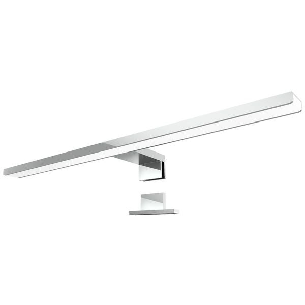 LED Bad Spiegelleuchte LEVA 2-in-1 Aufbauleuchte / Klemmleuchte 50cm 8W IP44 warmweiß chrom glänzend