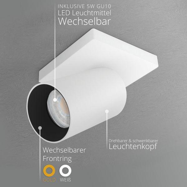 Moderne Spot Deckenleuchte ALVO 1 in Weiß Schwarz inkl. LED GU10 5W warmweiss – Bild 3