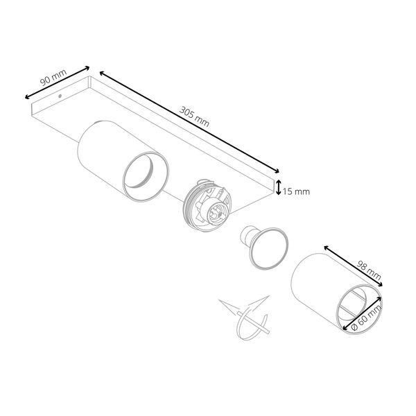 Moderne Spot Deckenleuchte ALVO 2 in Weiß Schwarz inkl. 2x LED GU10 5W warmweiss – Bild 7