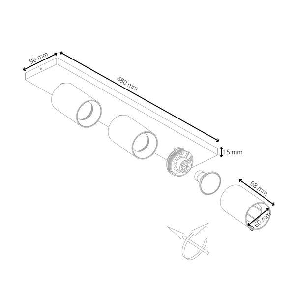Moderne Spot Deckenleuchte ALVO 3 in Weiß Schwarz inkl. 3x LED GU10 5W warmweiss – Bild 7