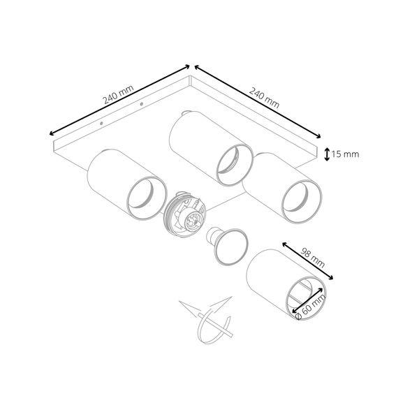 Moderne Spot Deckenleuchte ALVO 4 in Weiß Schwarz inkl. 4x LED GU10 5W warmweiss – Bild 7