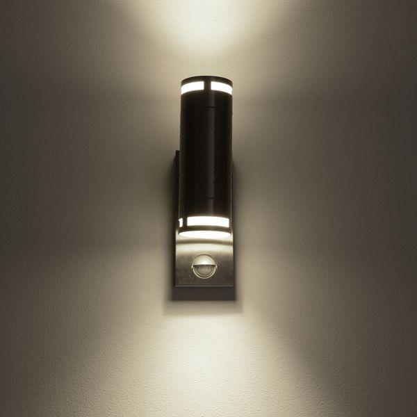 Außen Wandleuchte mit Bewegungsmelder IP44 Edelstahl mit 2 LED GU10 3W neutralweiß – Bild 3