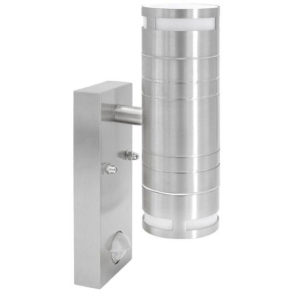 Außen Wandleuchte mit Bewegungsmelder IP44 Edelstahl mit 2 LED GU10 3W neutralweiß Stückzahl: 1er Set