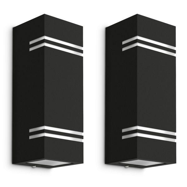 Wandleuchte JOVO-L Up & Down schwarz für Außen IP44 inkl. 2x GU10 LED 3W neutralweiß Stückzahl: 1er Set