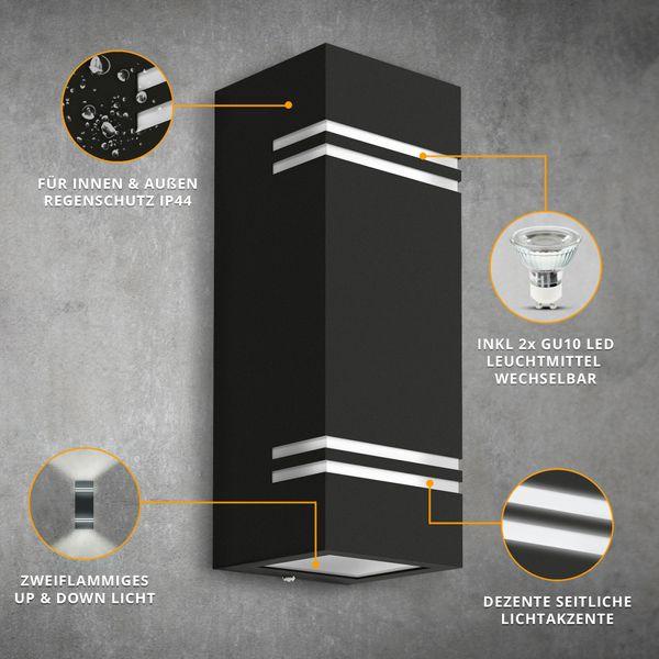 Wandleuchte JOVO-L Up & Down schwarz für Außen IP44 inkl. 2x GU10 LED 3W neutralweiß – Bild 3