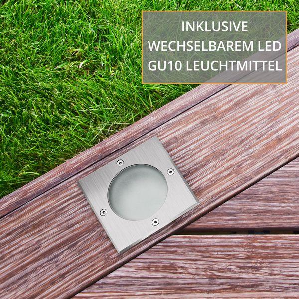 LED Bodeneinbaustrahler MADON - befahrbare Bodenlampe IP65 mit 3W neutralweiß GU10 230V – Bild 6