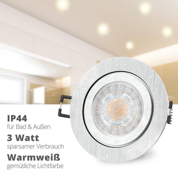 RW-2 LED Einbauleuchte für Bad & Außen IP44 Alu rund inkl. LED GU10 3W warmweiß – Bild 2