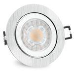 RW-2 LED Einbauleuchte für Bad & Außen IP44 Alu rund inkl. LED GU10 3W warmweiß 001