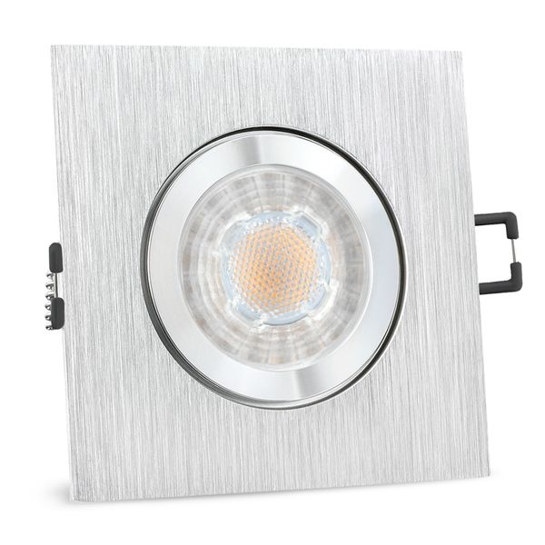 QW-2 LED Einbauspot für Bad & Außen IP44 Alu quadratisch inkl. LED GU10 3W warmweiß – Bild 1
