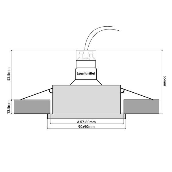 QW-2 LED Einbauspot für Bad & Außen IP44 Alu quadratisch inkl. LED GU10 5W warmweiß – Bild 6