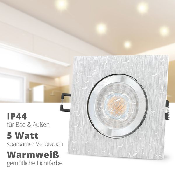 QW-2 LED Einbauspot für Bad & Außen IP44 Alu quadratisch inkl. LED GU10 5W warmweiß – Bild 2