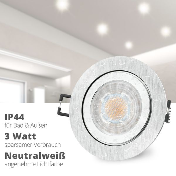 RW-2 LED Einbauleuchte für Bad & Außen IP44 Alu rund inkl. LED GU10 3W neutralweiß – Bild 2