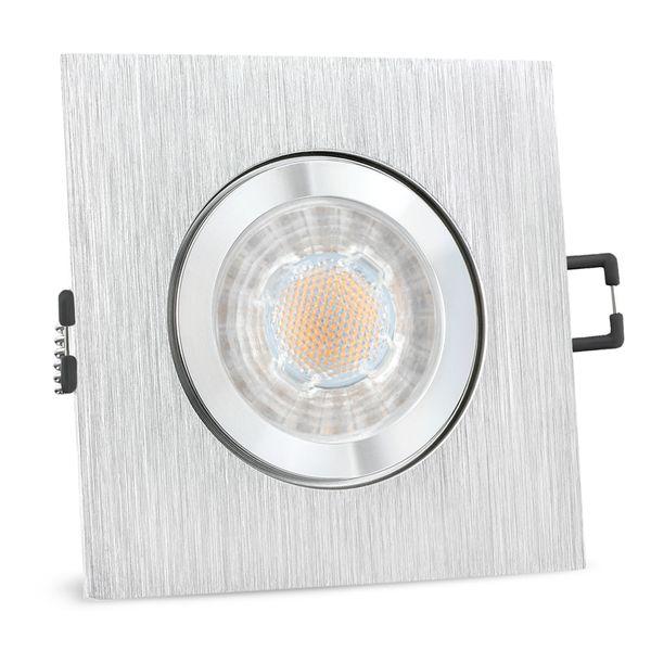 QW-2 LED Einbauspot für Bad & Außen IP44 Alu quadratisch inkl. LED GU10 3W neutralweiß – Bild 1