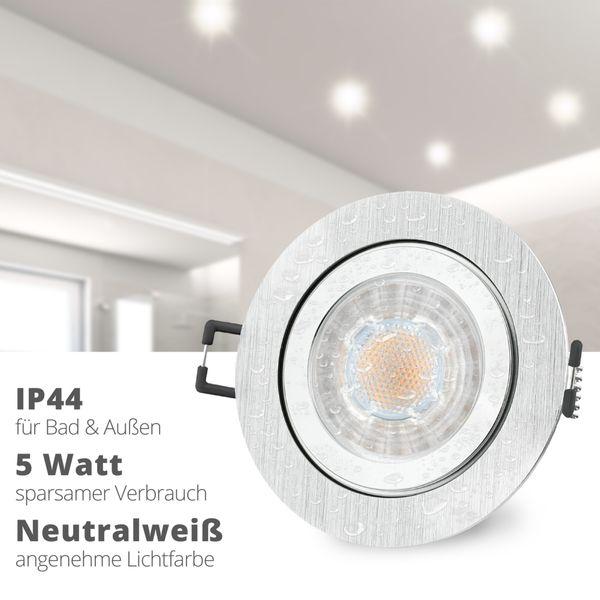 RW-2 LED Einbauleuchte für Bad & Außen IP44 Alu rund inkl. LED GU10 5W neutralweiß – Bild 2