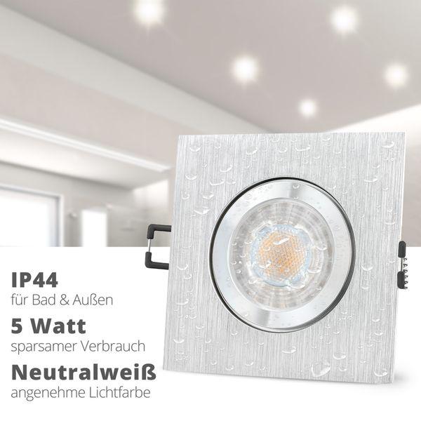 QW-2 LED Einbauspot für Bad & Außen IP44 Alu quadratisch inkl. LED GU10 5W neutralweiß – Bild 2