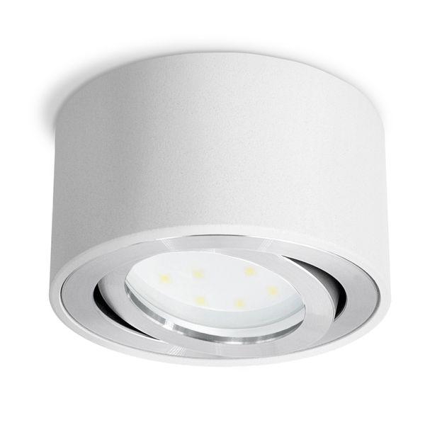CELI-1W flacher Decken Aufbauspot weiß schwenkbar inkl. LED Modul 5W warmweiss 230V Stückzahl: 1er Set