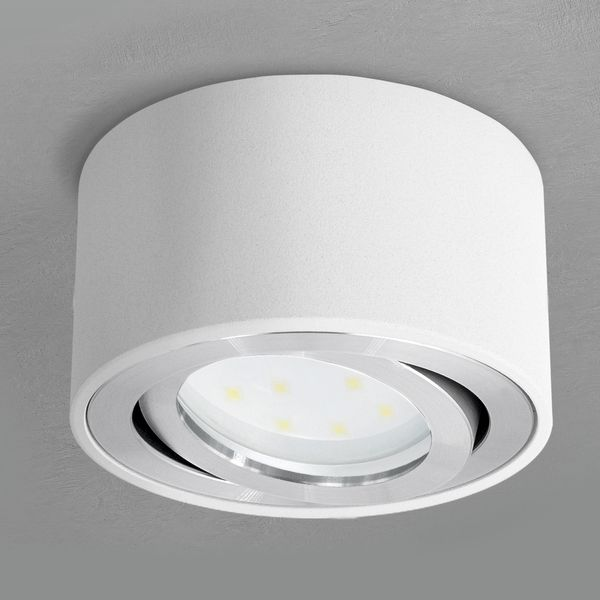 CELI-1W flacher Decken Aufbauspot weiß schwenkbar inkl. LED Modul 5W warmweiss 230V Stückzahl: 1er Set – Bild 2