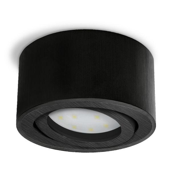 CELI-1 flacher Decken Aufbauspot schwarz schwenkbar inkl. LED Modul 5W warmweiss 230V Stückzahl: 1er Set