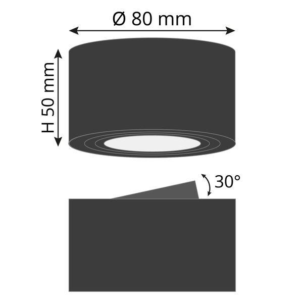 CELI-1B flacher Decken Aufbauspot schwarz schwenkbar inkl. LED Modul 5W warmweiss 230V – Bild 6