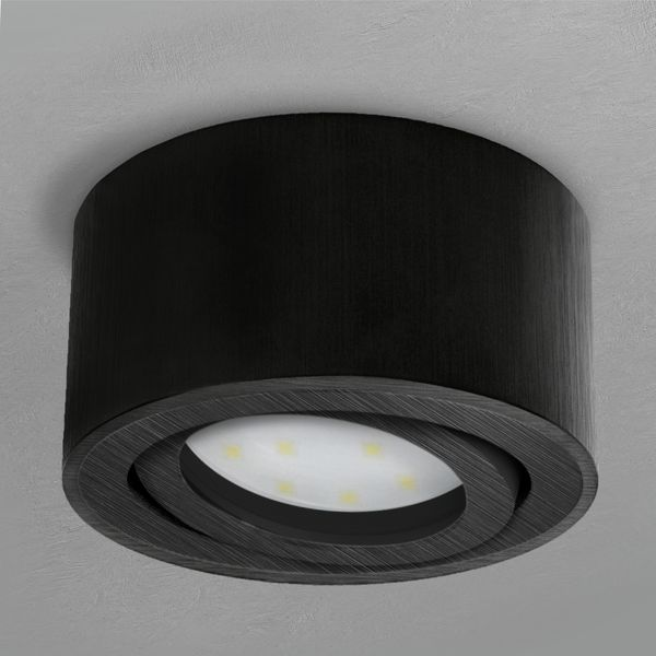CELI-1B Aufbauspot schwarz gebürstet schwenkbar inkl. fourSTEP LED Modul 5W warmweiß 230V – Bild 3