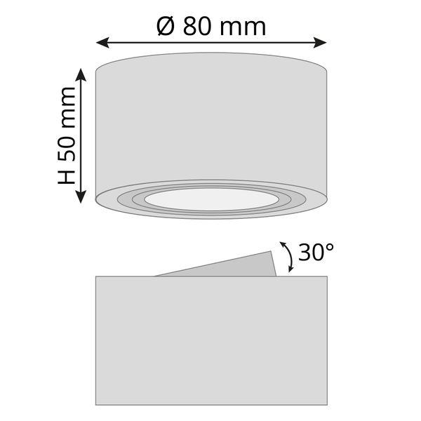 CELI-1A Aufbauspot flach Alu gebürstet schwenkbar inkl. fourSTEP LED Modul 5W neutralweiß 230V – Bild 7