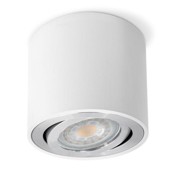 CELI-2W Aufbaustrahler schwenkbar rund & weiß Spot Strahler inkl. LED GU10 5W warmweiß – Bild 1