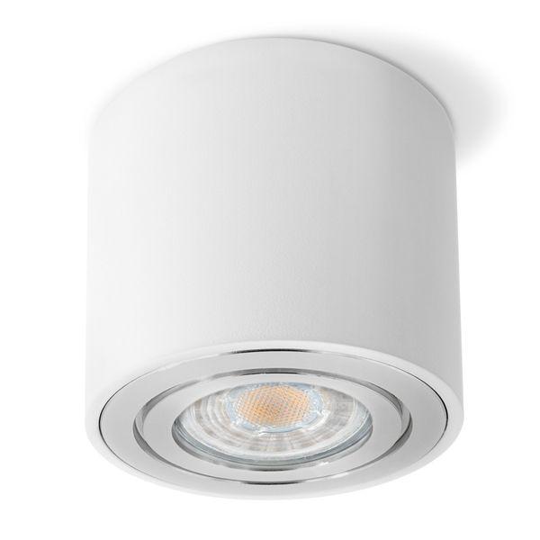 CELI-2W Aufbaustrahler schwenkbar rund & weiß Spot Strahler inkl. LED GU10 5W warmweiß Stückzahl: 1er Set – Bild 3