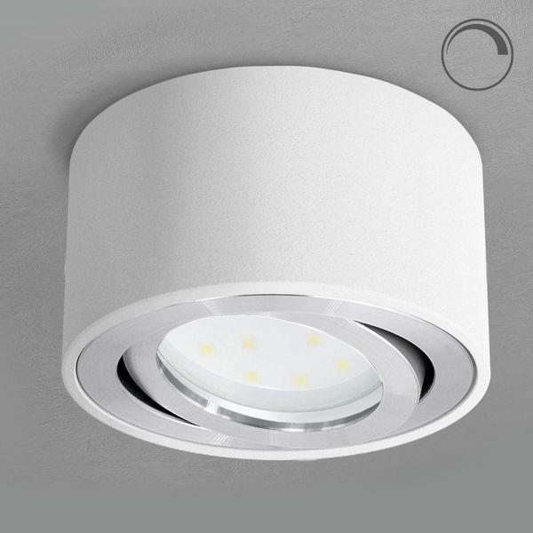 CELI-1W Aufbauspot weiß schwenkbar inkl. DIMMBAREM LED Modul 5W warmweiß 230V – Bild 2