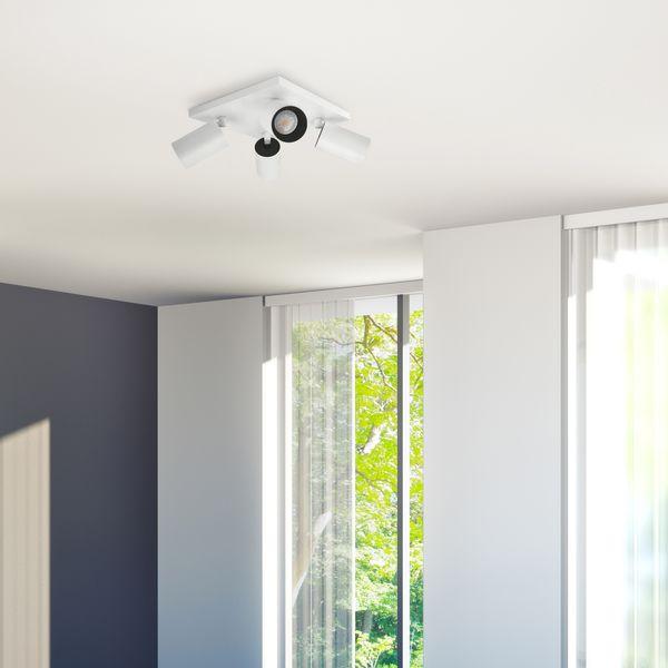 Moderne Spot Deckenleuchte ALVO 4 in Weiß Schwarz inkl. 4x LED GU10 5W neutralweiss – Bild 4