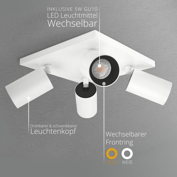 Moderne Spot Deckenleuchte ALVO 4 in Weiß Schwarz inkl. 4x LED GU10 5W neutralweiss – Bild 3