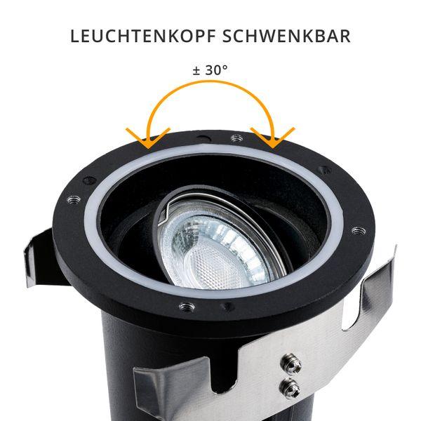 Schwenkbarer LED Bodeneinbaustrahler JUAVI IP67 inkl. LED GU10 6W warmweiß 230V – Bild 5
