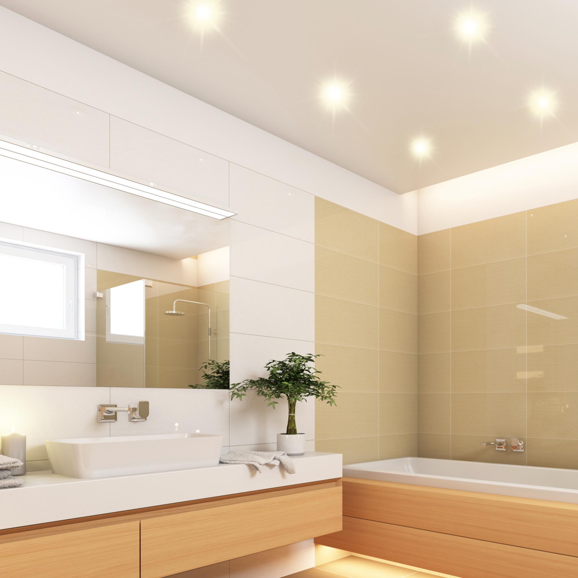 Flacher LED Bad Einbaustrahler RW 20 in weiß & rund IP20 mit LED Modul 20W  warmweiß 2030V