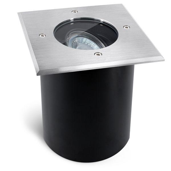 Schwenkbarer LED Bodeneinbaustrahler JUAVI quadratisch IP67 inkl. LED GU10 6W warmweiß 230V Stückzahl: 1er Set