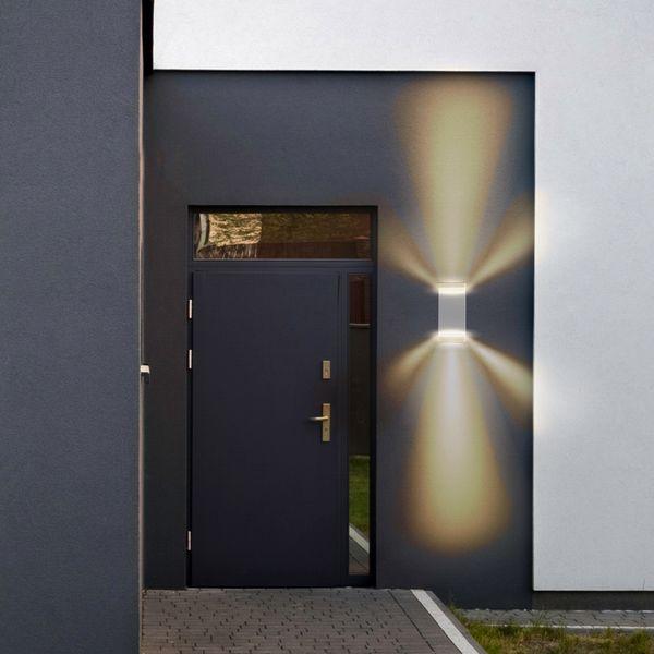 LED Außenwandleuchte SELA IP54 mit GU10 LED warmweiß 5W 230V in eckig grau Up & Down – Bild 5