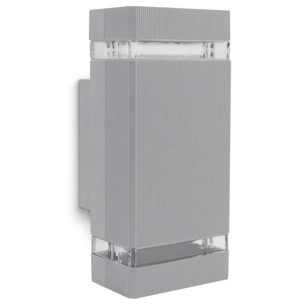 LED Außenwandleuchte SELA IP54 mit GU10 LED warmweiß 5W 230V in eckig grau Up & Down – Bild 1
