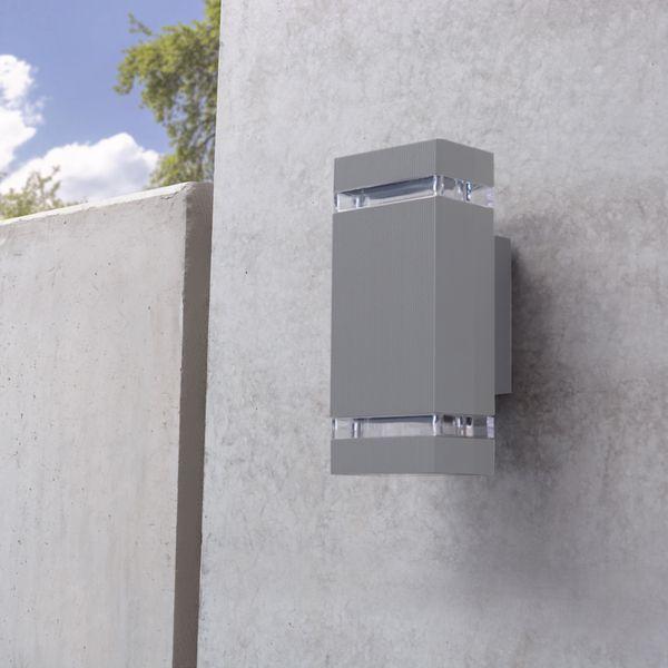 LED Außenwandleuchte SELA IP54 mit GU10 LED warmweiß 5W 230V in eckig grau Up & Down – Bild 3