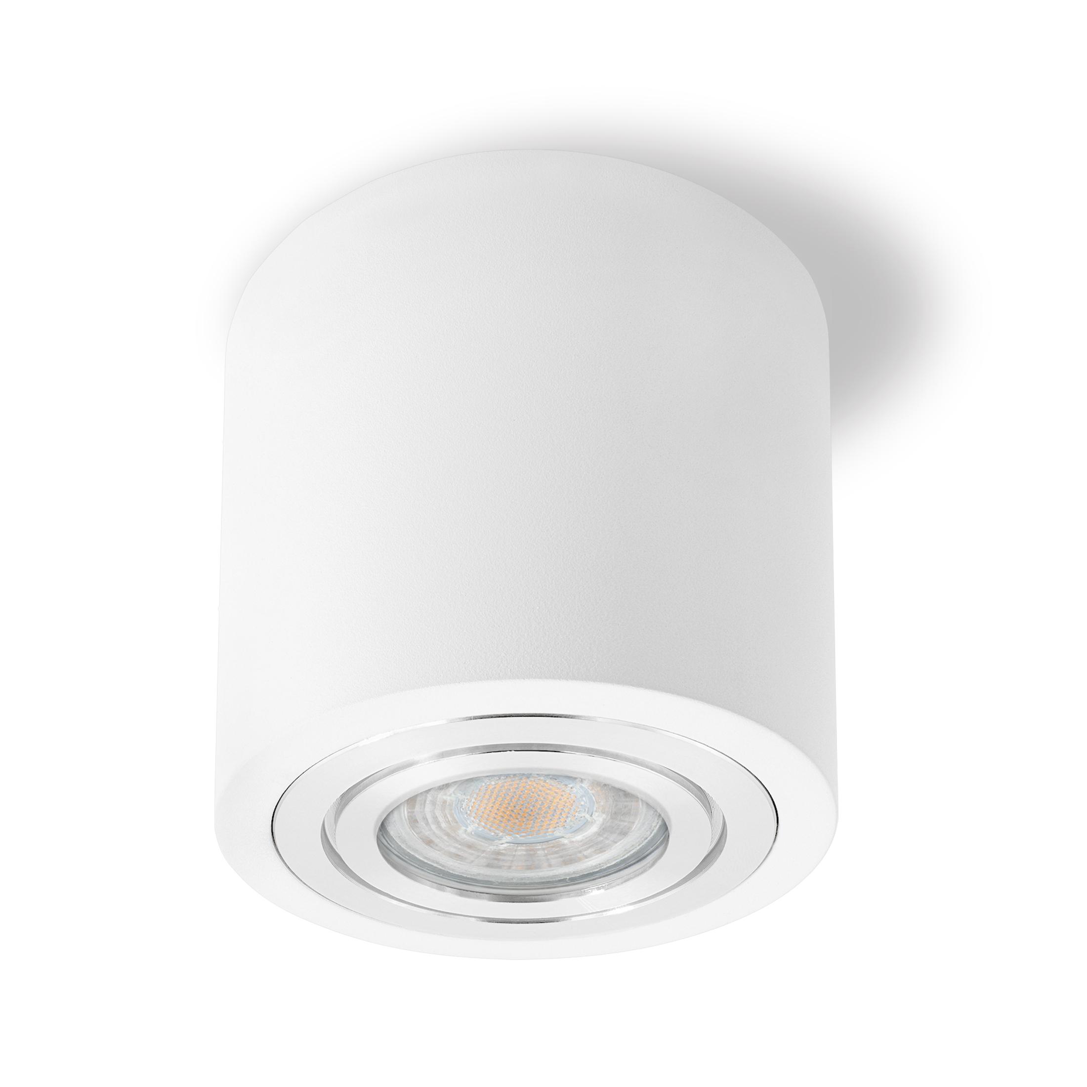 Feuchtraum Decken-Aufbau-Spot Alu weiß, IP16, inkl. LED GU16 16W 5160lm  warmweiß dimmbar