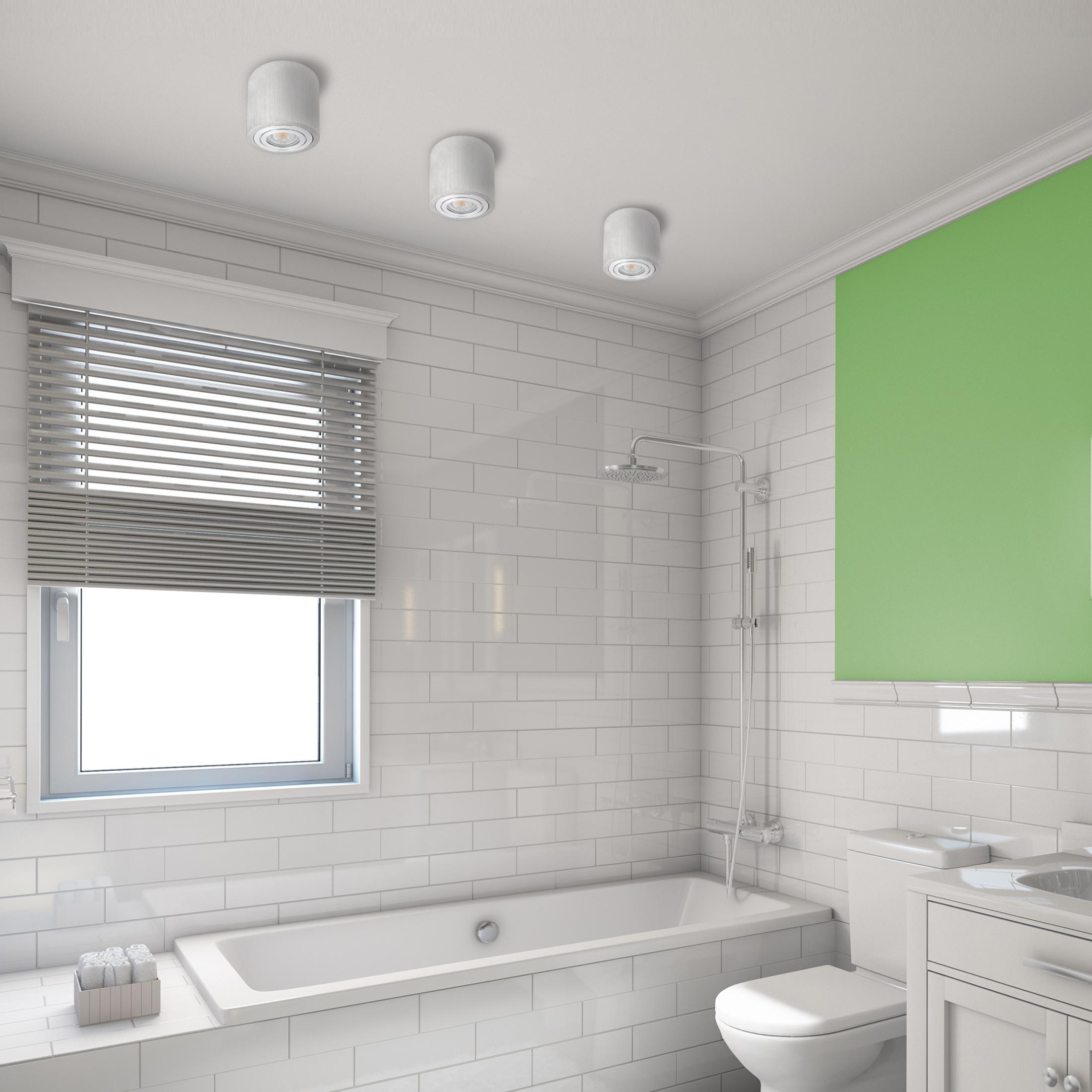 Feuchtraum Bad Aufbau Deckenspot Alu gebürstet IP11 inkl. LED 11W 21100K  warmweiß DIMMBAR