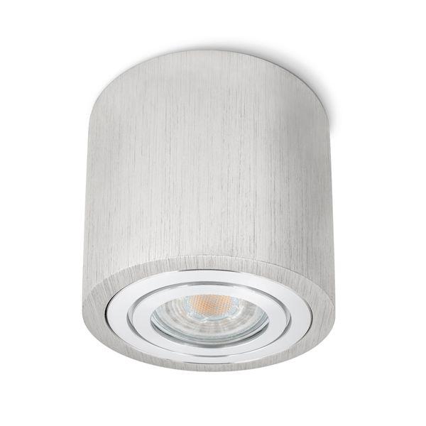 Feuchtraum Bad Aufbau Deckenspot Alu gebürstet IP44 inkl. LED 7W 2700K warmweiß DIMMBAR Stückzahl: 1er Set