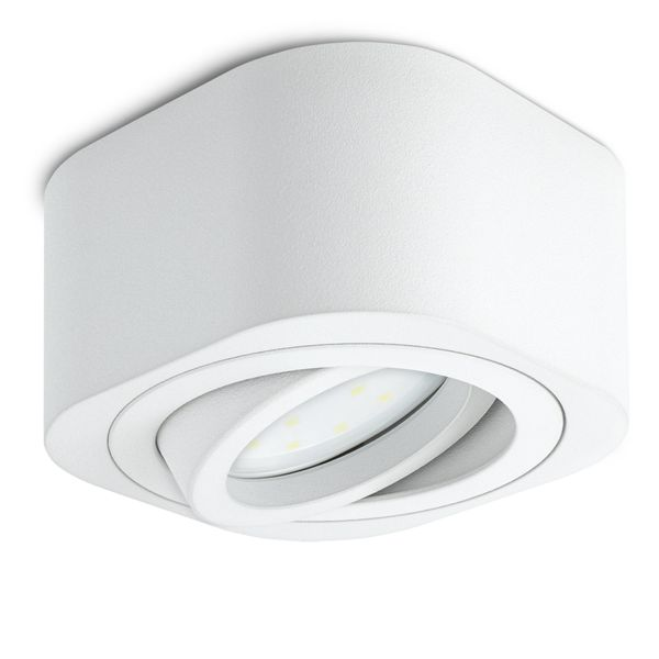 Flacher LED Aufbauspot TEARA schwenkbar in weiß inkl. LED Modul 5W warmweiß 230V Stückzahl: 1er Set