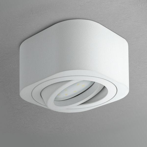 Flacher LED Aufbauspot TEARA schwenkbar in weiß inkl. LED Modul 5W warmweiß 230V – Bild 3