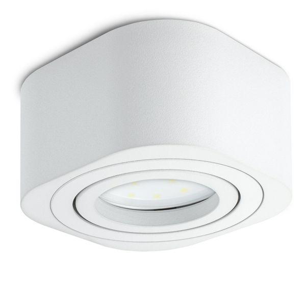 Flacher LED Aufbauspot TEARA schwenkbar in weiß inkl. LED Modul 5W warmweiß 230V – Bild 7